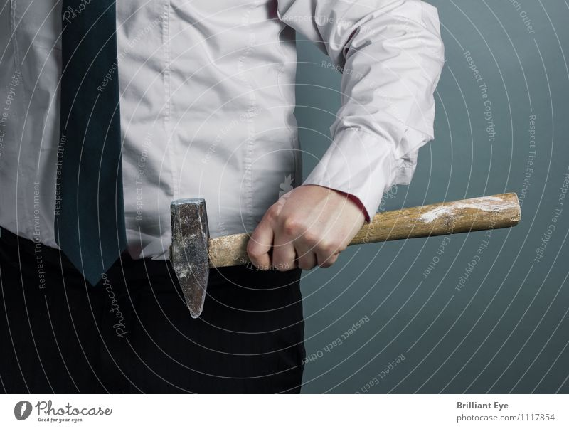 Businessman with a hammer in his hand Lifestyle Elegant Work and employment Profession Craftsperson Office work Workplace Economy Career Hammer Human being