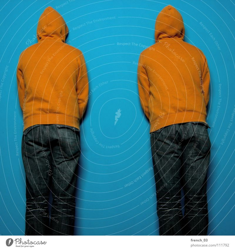 facing the wall Human being Man Blue Colour Wall (building) Wall (barrier) Lake Orange Masculine Perspective Clothing Jeans Wrinkles Pants Jacket Stupid