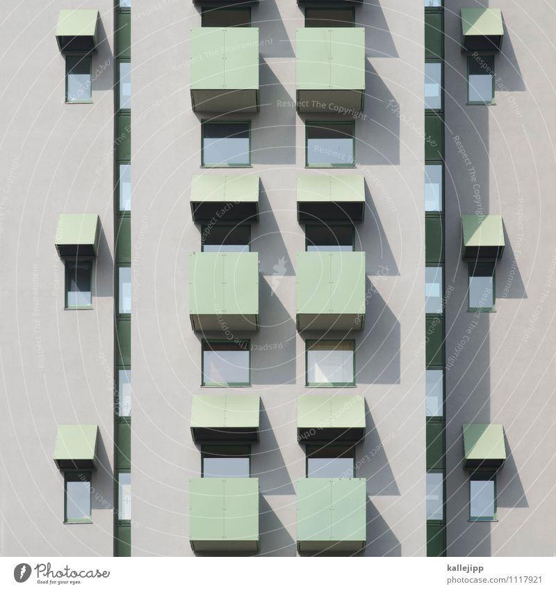 flats and shadows Town High-rise Building Architecture Wall (barrier) Wall (building) Facade Balcony Window Gray Concrete Tenant Resident Population