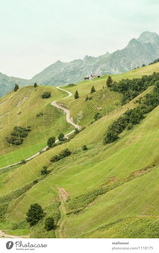 Mountain pastures Hiking trail Hiking hut Environment Nature Landscape Hill Rock Alps Peak Green Longing Wanderlust Adventure Contentment Loneliness Discover
