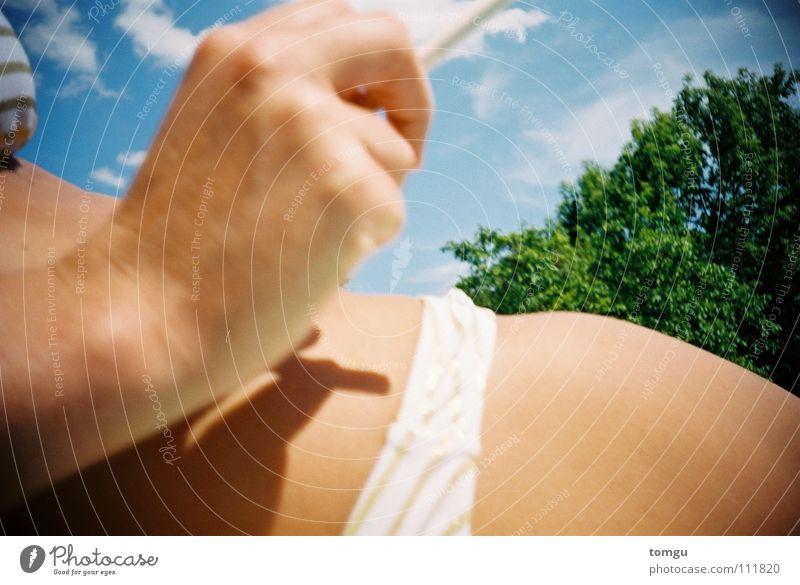 Woman Hand Sky Tree Green Blue Summer Clouds Grass Legs Smoking Bikini Cigarette Open-air swimming pool Swimming pool Lomography