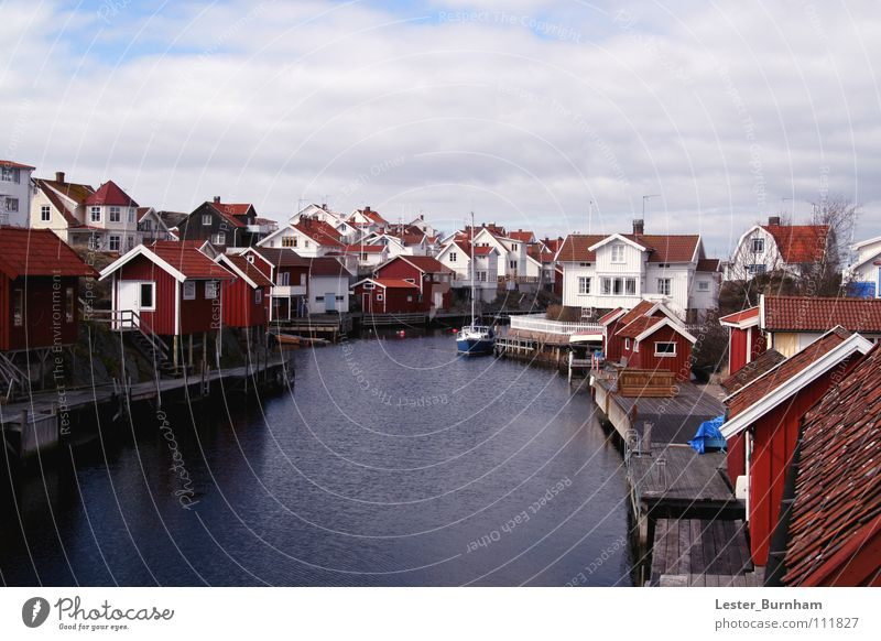 Lysekils, Sweden Town Coast Red House (Residential Structure) Water Watercraft