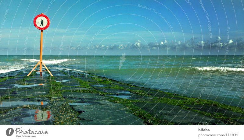 don't walk the line Lake Infinity Far-off places Ocean Surf White crest Air Europe Belgium Black Algae Glittering Break water Waves Bans Stop Dangerous
