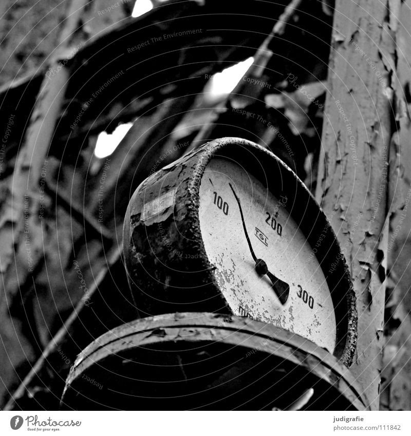 industrial romance Black & white photo Interior shot Clock Factory Industry Sign Digits and numbers Old Broken Performance Transience Change Time Destruction