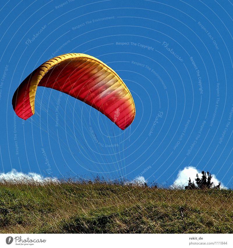 Sky Green Blue Red Joy Clouds Lanes & trails Rope Horizon Walking Beginning Parachute Aviation Stop Ascending Hang