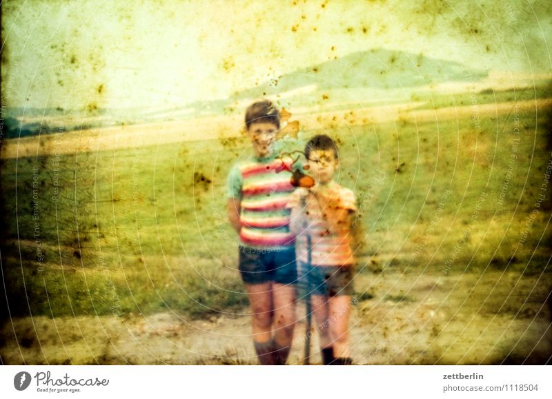 Lutz and Thomas before the Hutberg Child Boy (child) Vacation & Travel Travel photography Landscape Hill Horizon Former Infancy Childhood memory