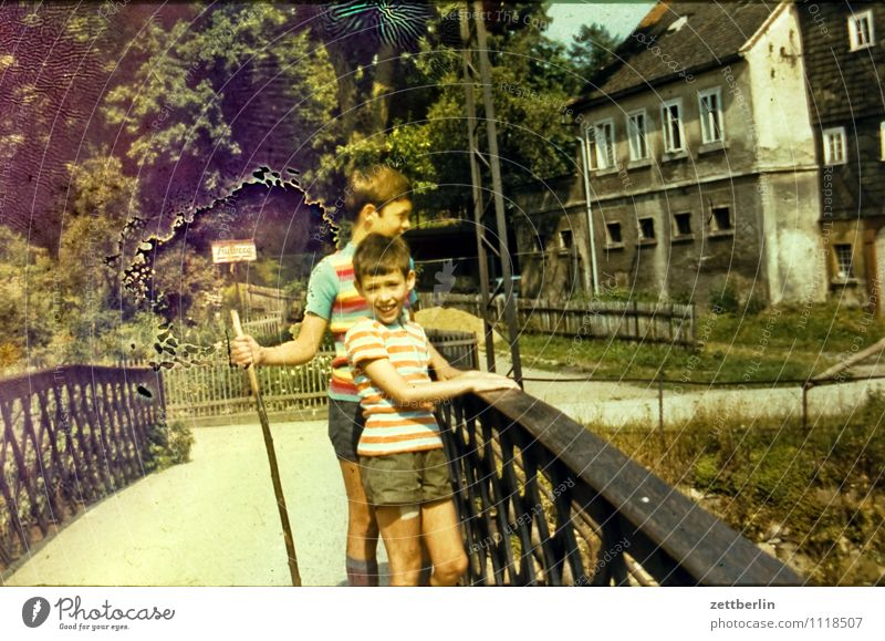 Thomas and Lutz, 1971 Child Boy (child) Vacation & Travel Travel photography Former Infancy Childhood memory Youth (Young adults) Past Portrait photograph