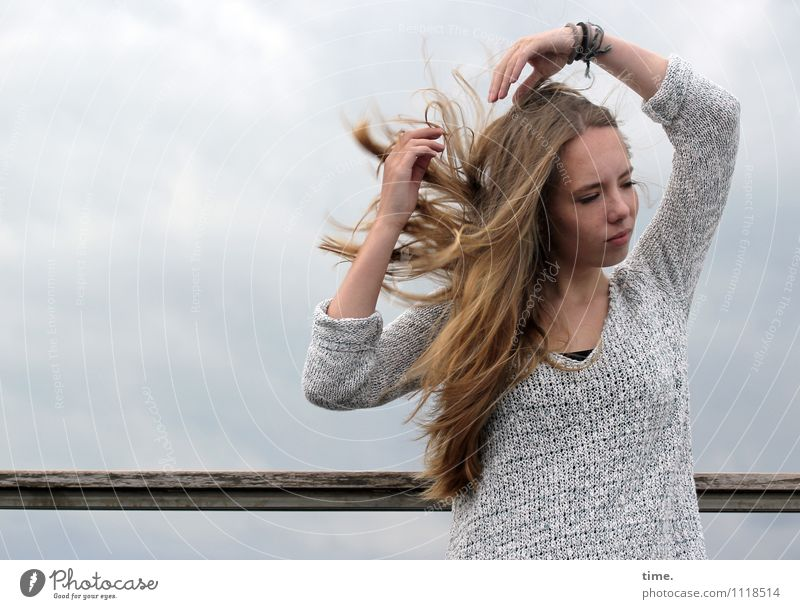 . Feminine Young woman Youth (Young adults) 1 Human being Blonde Long-haired Movement Relaxation Dance Dream Wait Beautiful Contentment Joie de vivre (Vitality)