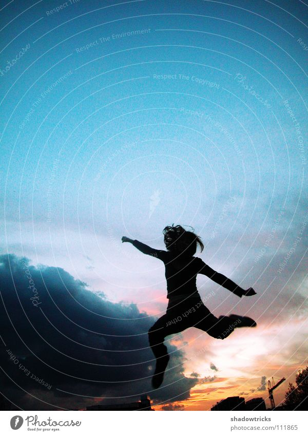 Woman Human being Youth (Young adults) Beautiful Sky Sun Green Blue Red Joy Life Jump Freedom Hair and hairstyles Flying High-rise