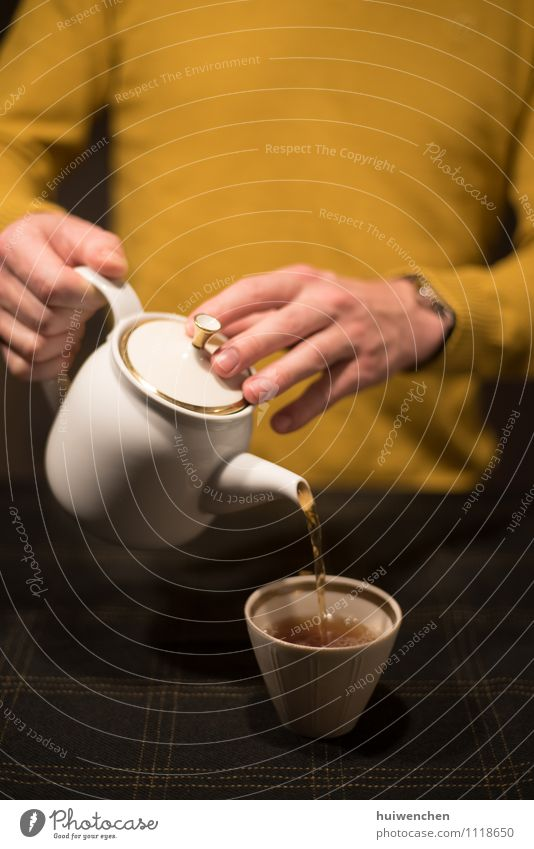 a man serve the tea Beverage Tea Black tea Pot Mug Teapot Tea cup Lifestyle Man Adults Hand Fingers 1 Human being Tablecloth To hold on Friendliness Brown