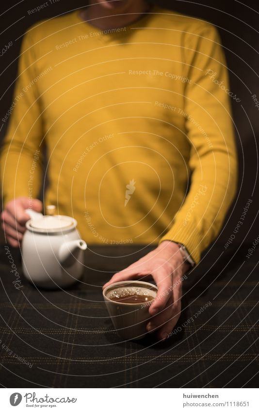 enjoy the tea Drinking Tea Mug Tea cup Teapot Tablecloth Lifestyle Elegant Relaxation Man Adults Hand Fingers 1 Human being To enjoy Friendliness Happiness