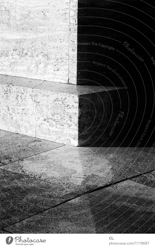 corners and edges Wall (barrier) Wall (building) Ground Corner Stone Dark Sharp-edged Bright Contrast Black & white photo Exterior shot Close-up Detail Deserted