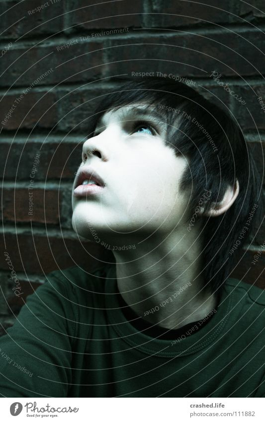 Youth (Young adults) White Face Dark Boy (child) Style Above Hair and hairstyles Wall (barrier) Mouth Nose Observe Cheek Neck Brick wall Face of a child