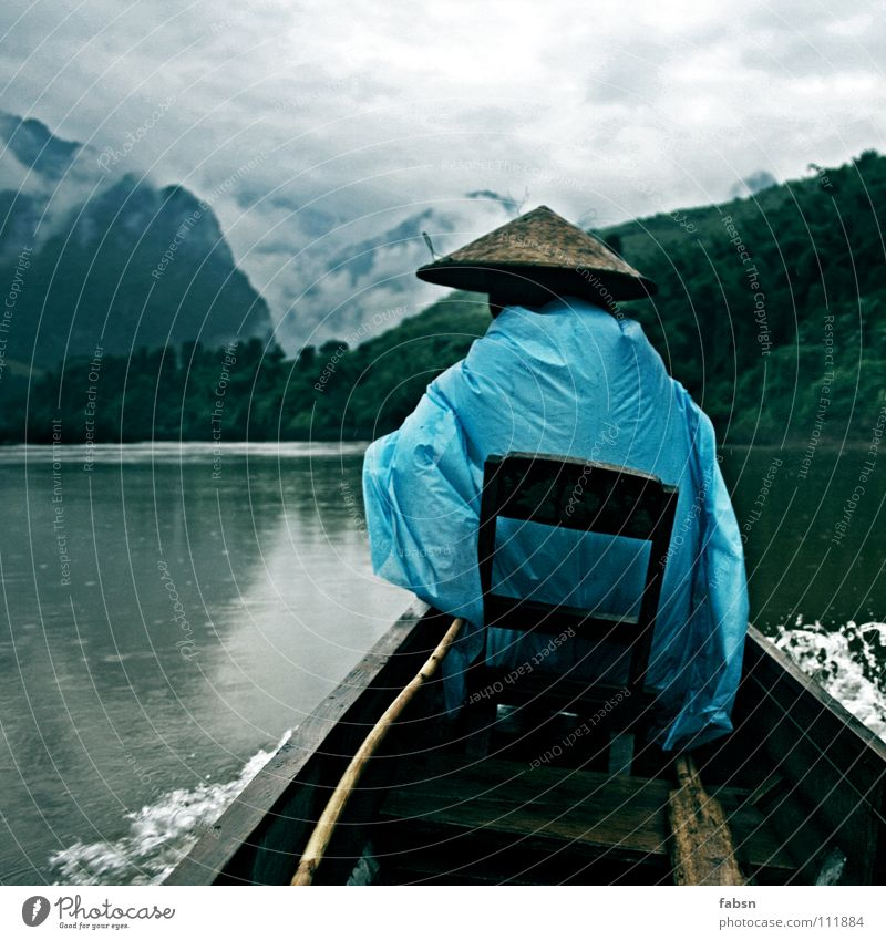 full moon Mountain Water Clouds Bad weather Rain Virgin forest Brook River Watercraft Hat Wood Simple Protection Driver Laos Practical Raincoat Plastic bag Asia