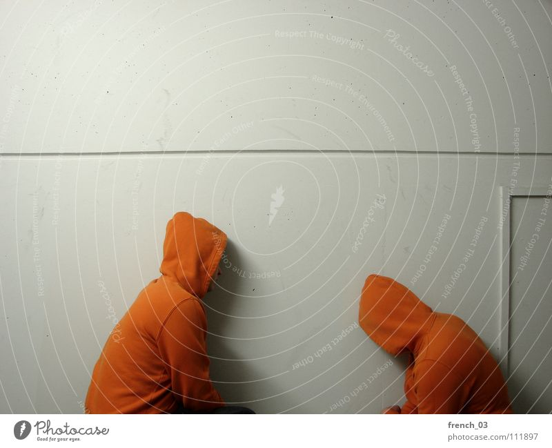 Human being White Colour Wall (building) Wall (barrier) Think Lake Line Orange Masculine Perspective Corner Clothing Jacket Stupid Sweater