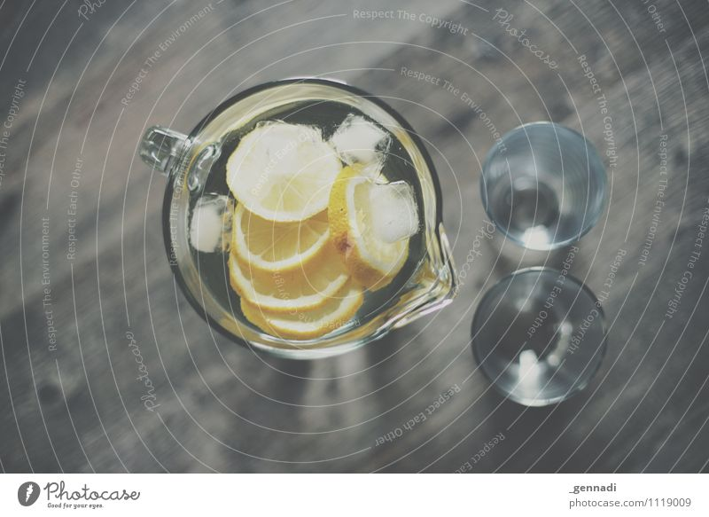 Lemon Water Food Beverage Drinking Cold drink Drinking water Lemonade Yellow Refreshment Glass Decanter Ice cube Colour photo Interior shot Studio shot Detail