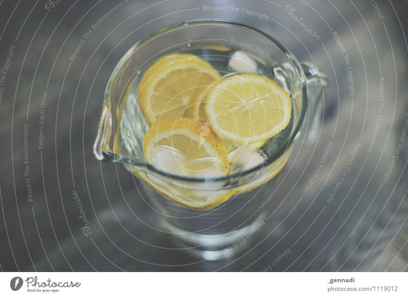 refreshment Food Beverage Drinking Cold drink Drinking water Lemonade Yellow Ice cube Water Decanter Healthy Colour photo Interior shot Studio shot Deserted