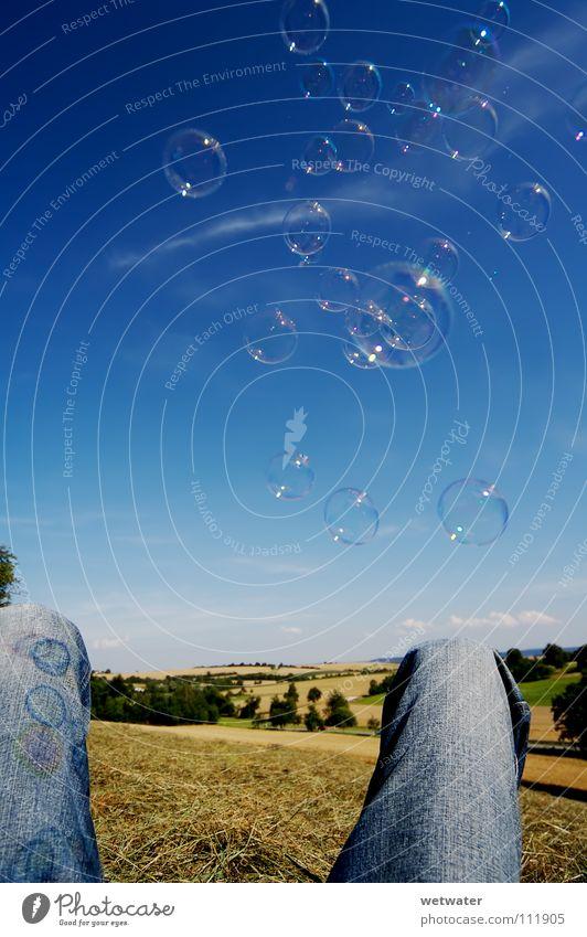 Beautiful Sky Summer Joy Relaxation Landscape Air Legs Ball Jeans Sphere Blow Soap bubble Bubble Soap
