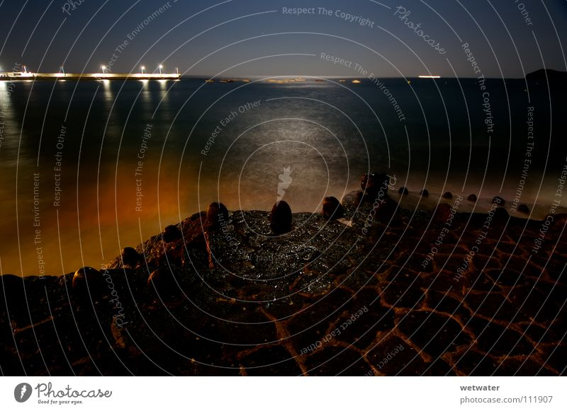 night at the sea Summer Ocean Night Light Footbridge Harbour Beach Coast ligth moon Lamp High tide flood quiet Calm stone Lanes & trails gazing habour