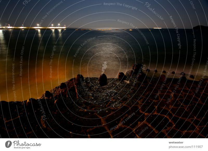 Ocean Summer Beach Calm Lamp Stone Lanes & trails Coast Harbour Moon Footbridge High tide