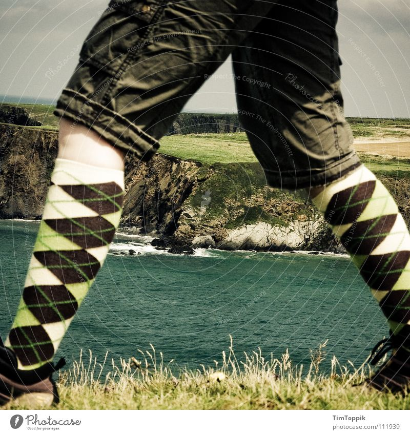Burlington Mountains Stockings Hiking Footwear Hiking boots Pants Shorts Knee Grass Ocean Lake Waves Cliff Coast Surf Slope Horizon Going Pattern Sock Meadow