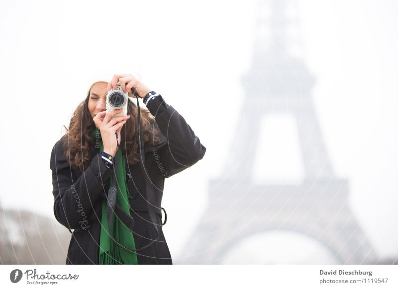 Photographer at the Eiffel Tower Vacation & Travel Tourism Sightseeing City trip Feminine Young woman Youth (Young adults) Woman Adults Life Body Face Arm Hand