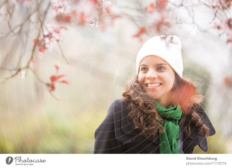 in joyful anticipation Feminine Woman Adults 1 Human being 18 - 30 years Youth (Young adults) Plant Animal Spring Beautiful weather Tree Blossom Garden Park