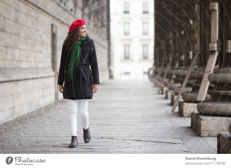 Woman Vacation & Travel Youth (Young adults) City Green Red 18 - 30 years Adults Architecture Feminine Happy Laughter Facade Contentment Body Tourism