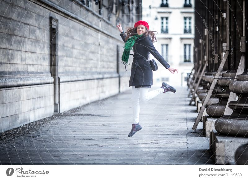 Human being Woman Vacation & Travel Youth (Young adults) Green White Red 18 - 30 years Adults Face Wall (building) Feminine Wall (barrier) Happy Jump Facade