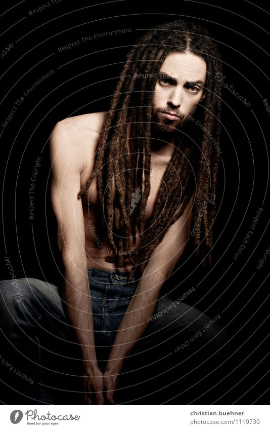 Rasterman Masculine 18 - 30 years Youth (Young adults) Adults Dreadlocks Designer stubble Crouch Looking Athletic Authentic Sharp-edged Simple Eroticism Free
