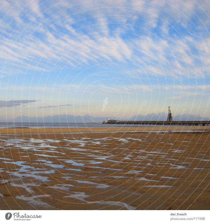 Sky Ocean Blue Beach Sand Coast Wind Gale North Sea Mud flats Flood Deluge Wilhlemshaven