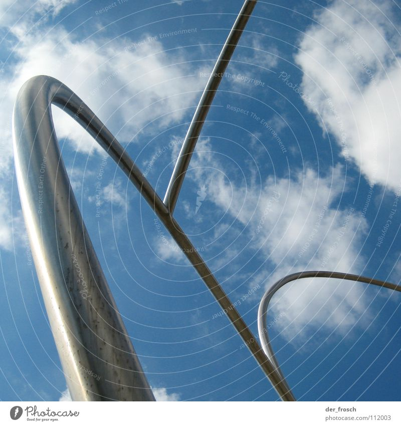 Sky Clouds Metal Art Iron-pipe Silver Sculpture Barcelona Arch Arts and crafts  Roller coaster