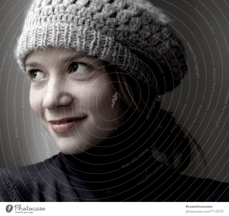 balloon cap girl Girl Cap Grinning Calm French Looking Dream Decent Youth (Young adults) Happy Dreamily Smiling Looking away Portrait photograph Face of a child