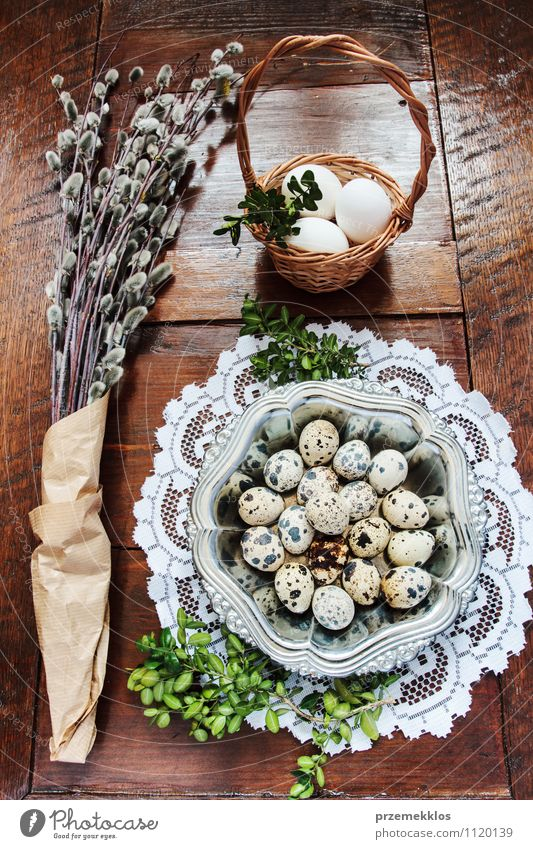 Easter composition of eggs and catkins on wooden table Decoration Table Spring Paper Wood Metal Natural Brown Green Tradition Basket bobwhite candid Dish Egg