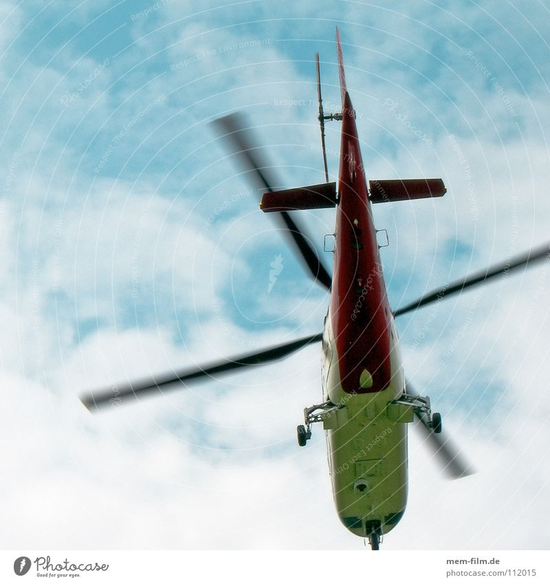 helipe Helicopter Airplane Emergency doctor Doctor Rescue Lifesaving Clouds Hover Flying Orange Blue Blue sky flight Rotor crash flying doctors air rescue