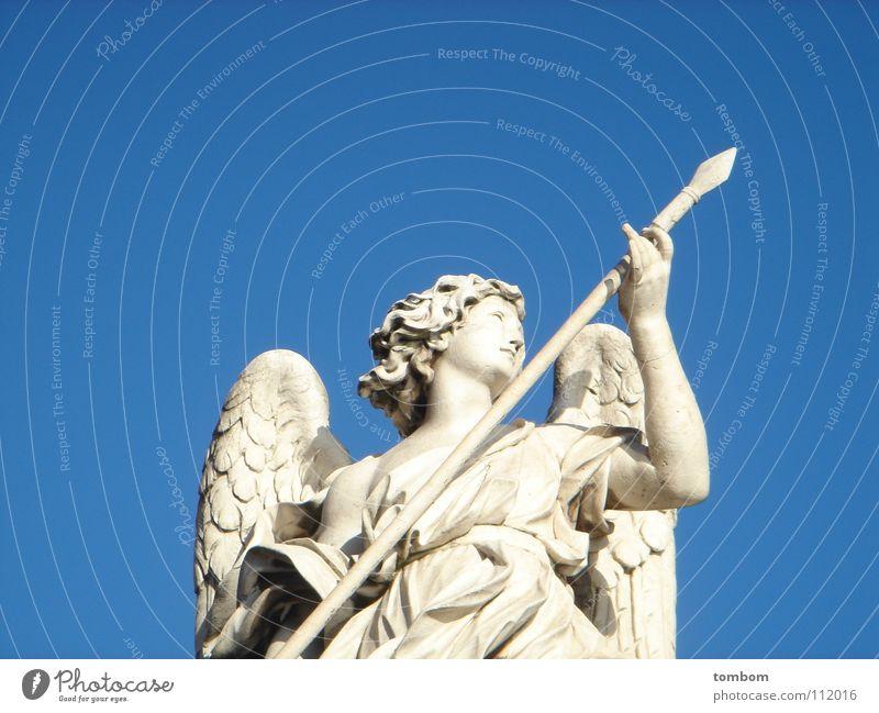 Sky Blue Stone Angel Statue Sculpture Sky blue Dart Lance Stone statue