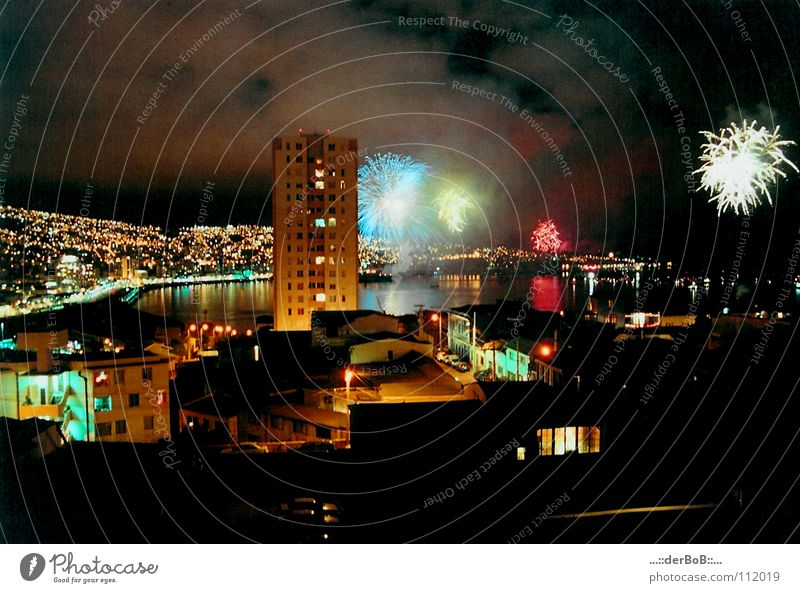 City House (Residential Structure) Colour High-rise New Year's Eve Analog Firecracker Chile South America Lomography Valparaíso