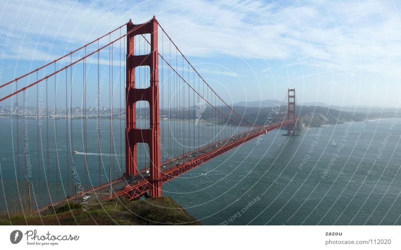 Road traffic Transport Bridge Modern USA Americas Landmark Column California Tourist Attraction San Francisco Suspension bridge Golden Gate Bridge