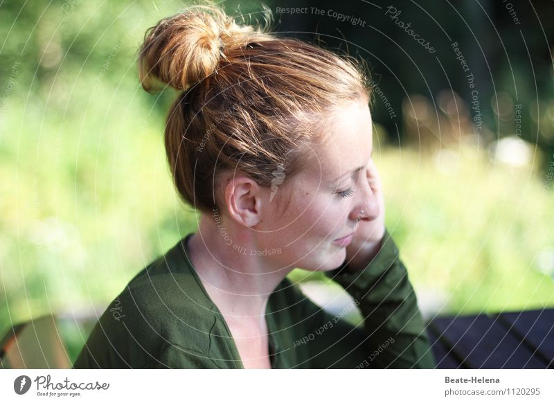 hungry for the sun Beautiful Sunbathing Young woman Youth (Young adults) Head Hair and hairstyles 18 - 30 years Adults Nature Plant Spring Grass Foliage plant