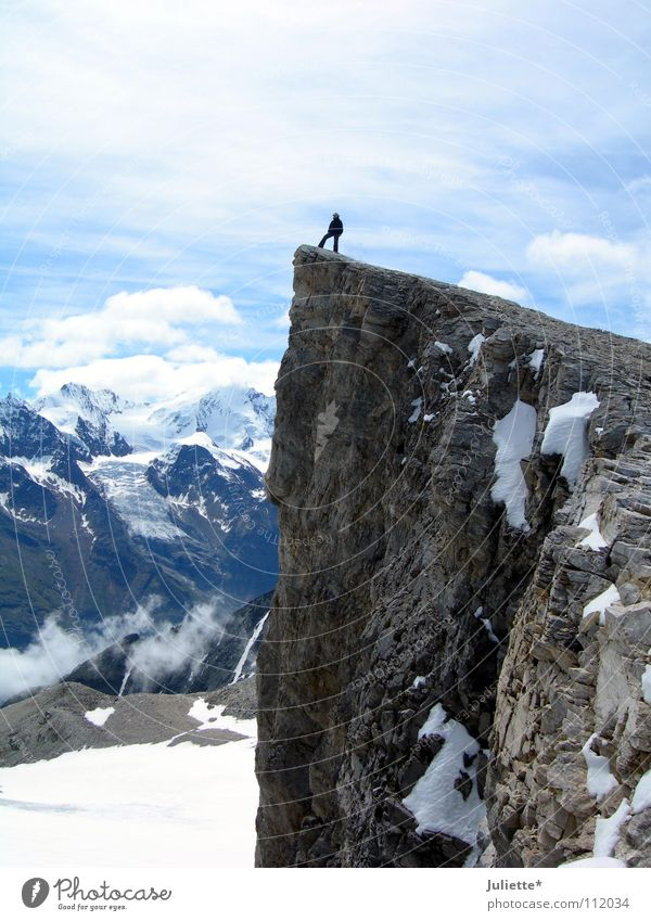 Sky Beautiful Clouds Snow Mountain Freedom Climbing Vantage point Switzerland Brave Reach To board Reckless
