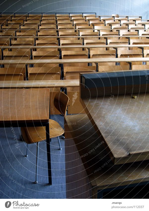Teach You Grid Row of seats Seating capacity Incline Empty Expectation Event Dark Audimax Multiple Places Lecture hall Academic studies Education Audience