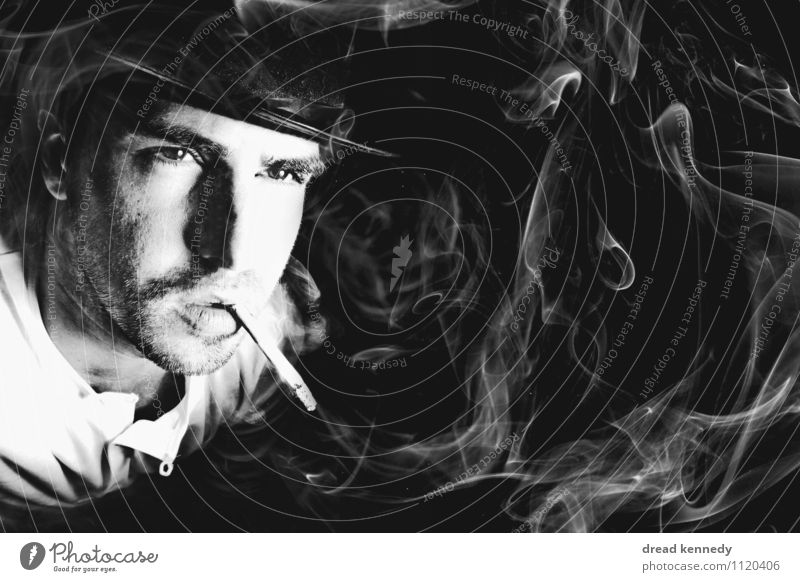 smoker's picture Human being Masculine Man Adults 1 30 - 45 years Smoking Cool (slang) Rebellious Retro Cliche Black White Vice Power Serene To enjoy Smoke
