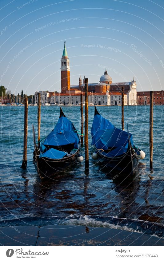 two Vacation & Travel Tourism Trip Sightseeing City trip Summer Summer vacation Cloudless sky Beautiful weather Island San Giorgio Maggiore Lagoon Venice Italy