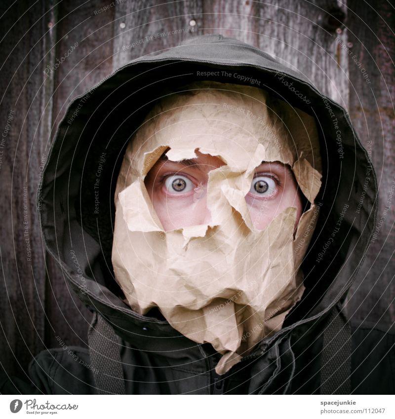 Man Joy Face Eyes Wall (building) Wood Paper Mask Whimsical Hide Cardboard Freak Humor Paper bag Hooded (clothing) Packaging