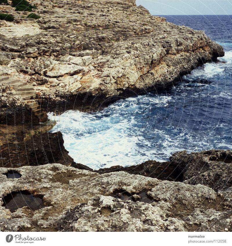 Nature Ocean Summer Joy Jump Waves Rock Europe Perspective Clean Bay Surf White crest Mediterranean sea Swell