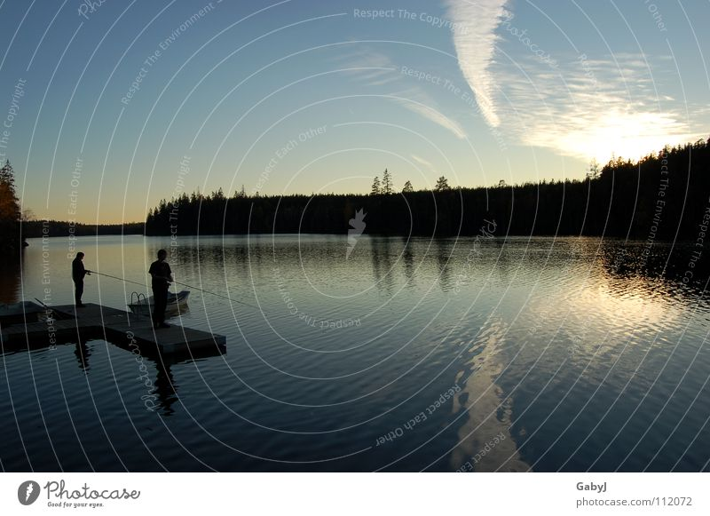harmony Lake Angler Sunset Autumn sky Forest Reflection Clouds Fishing (Angle) Calm Harmonious Timeless Vacation & Travel Together Endurance Infinity Dangle Man