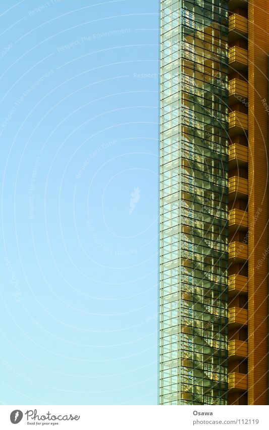Staircase with view Building Staircase (Hallway) Go up Facade Glas facade Vertical High-rise Detail emergency staircase Stairs Descent Glass Modern Sky Blue