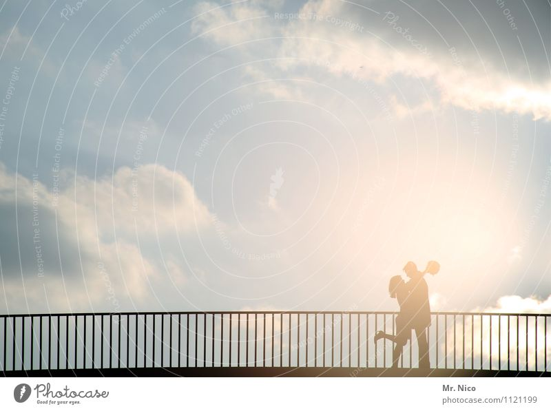 Human being Woman Sky Man Summer Clouds Adults Love Lanes & trails Happy Couple Together Weather Contentment Climate Trip
