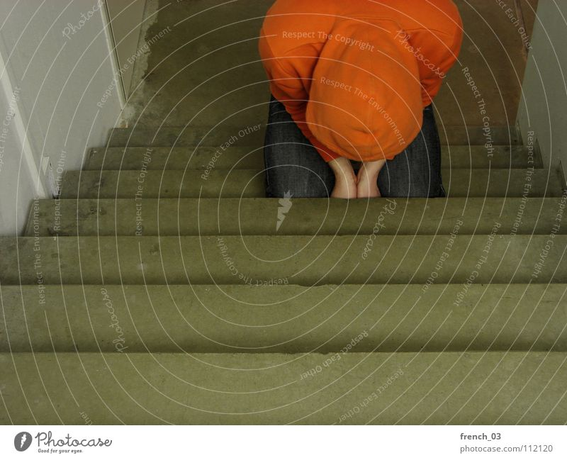 submissive Human being Man White Colour Wall (building) Sadness Wall (barrier) Think Lake Line Orange Stairs Masculine Lie Broken Perspective