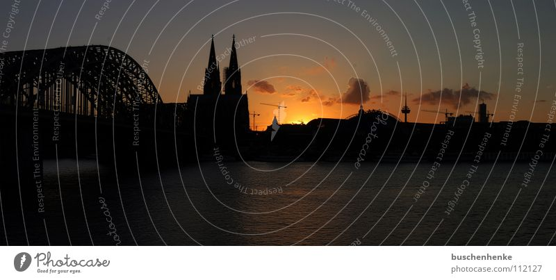 Panorama Cologne Cathedral Sunset Clouds Red Sky Wide angle Panorama (View) Germany Colonius - television tower Town Dark Bridge Dome Rhine River Orange